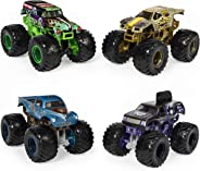 Monster Jam, Official Reveal The Steel 4-Pack of Color-Changing Die-Cast Monster Trucks, 1:64 Scale