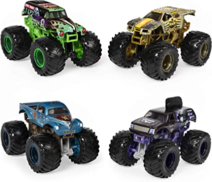 Amazon Com Monster Jam Official Reveal The Steel 4 Pack Of Color Changing Die Cast Monster Trucks 1 64 Scale 6058463 Toys Games