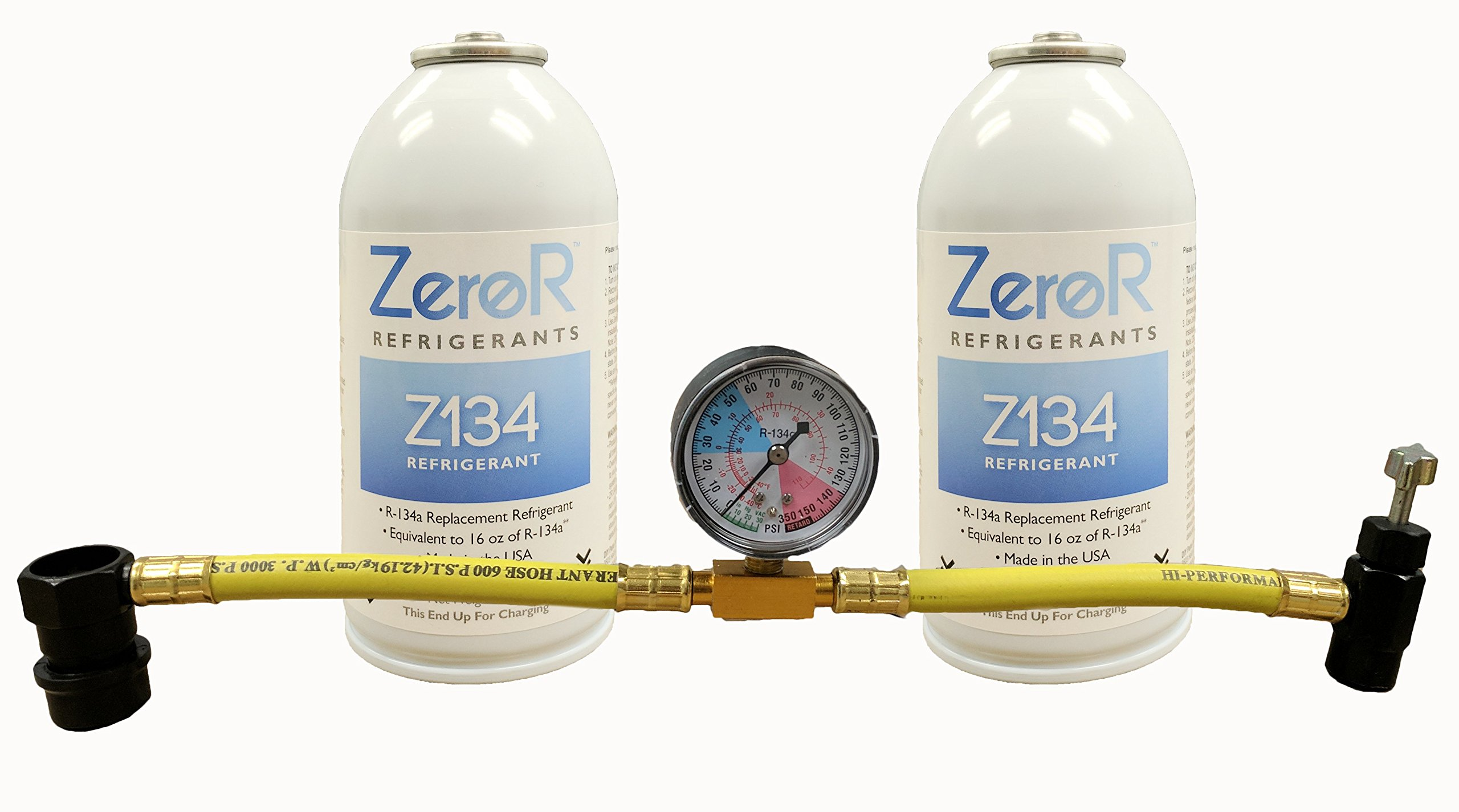ZeroR R-134a Quick Charge Kit - Refrigerant, Can Tap, Gauge by ZeroR