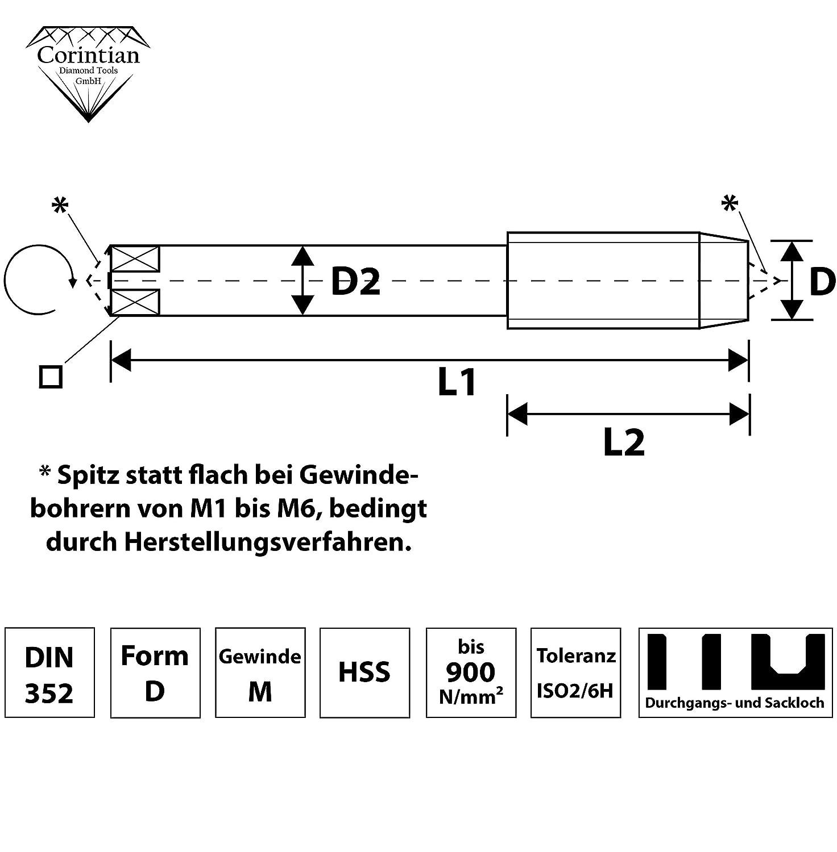 Corintian HSS Gewindebohrer Gewindeschneider Form D M24 universeller Einschnittgewindebohrer Sackloch Durchgangsloch M4 Handgewindebohrer und Maschinengewindebohrer /Ø M1