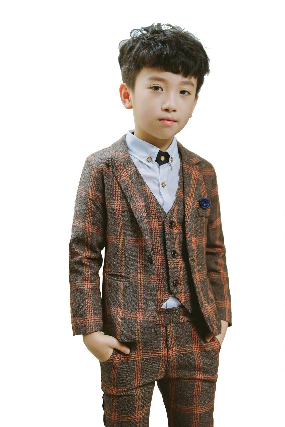 YUFAN Boys Plaid Suits Formal Dress Blazer Vest Pants 3 Pieces Gray & Navy 2 Colors (5, Gray)