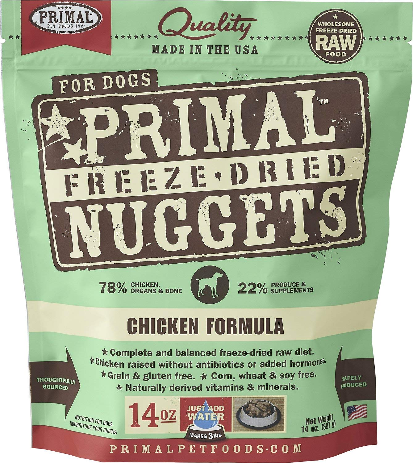 Primal Freeze-Dried Nuggets Chicken Formula Dogs 56oz (4 x 14oz) by Primal