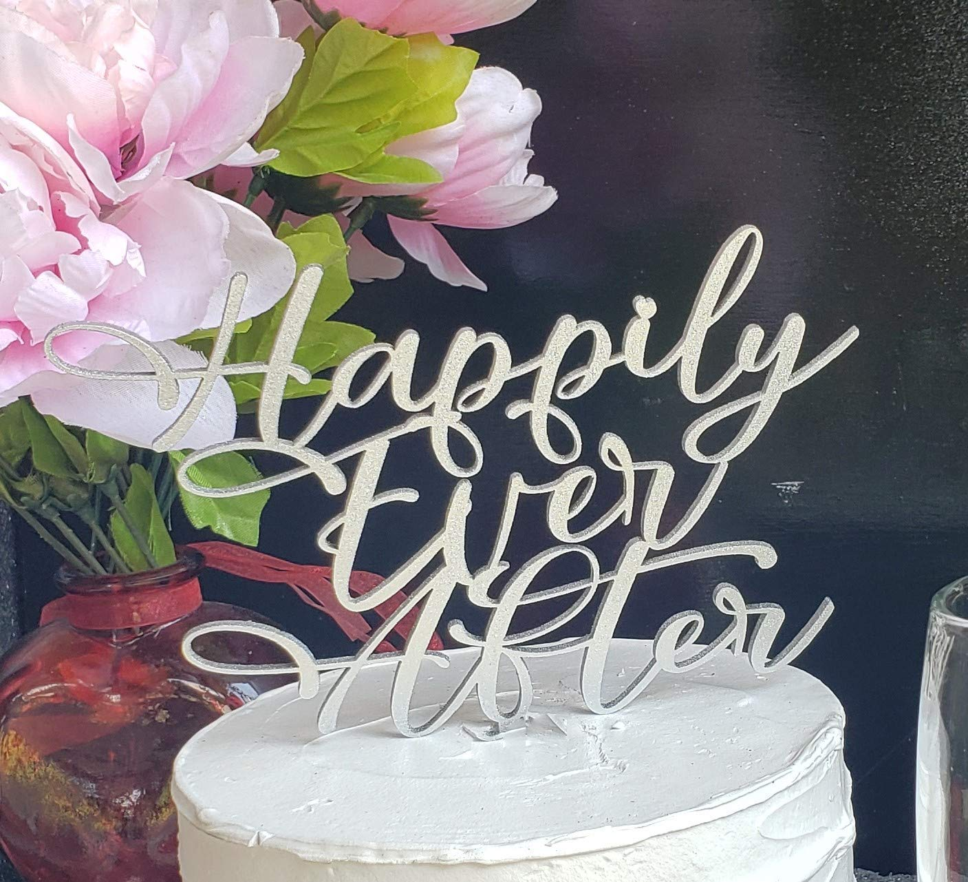 Simply Elegant Script Wedding cake topper Happily Ever After Cake topper