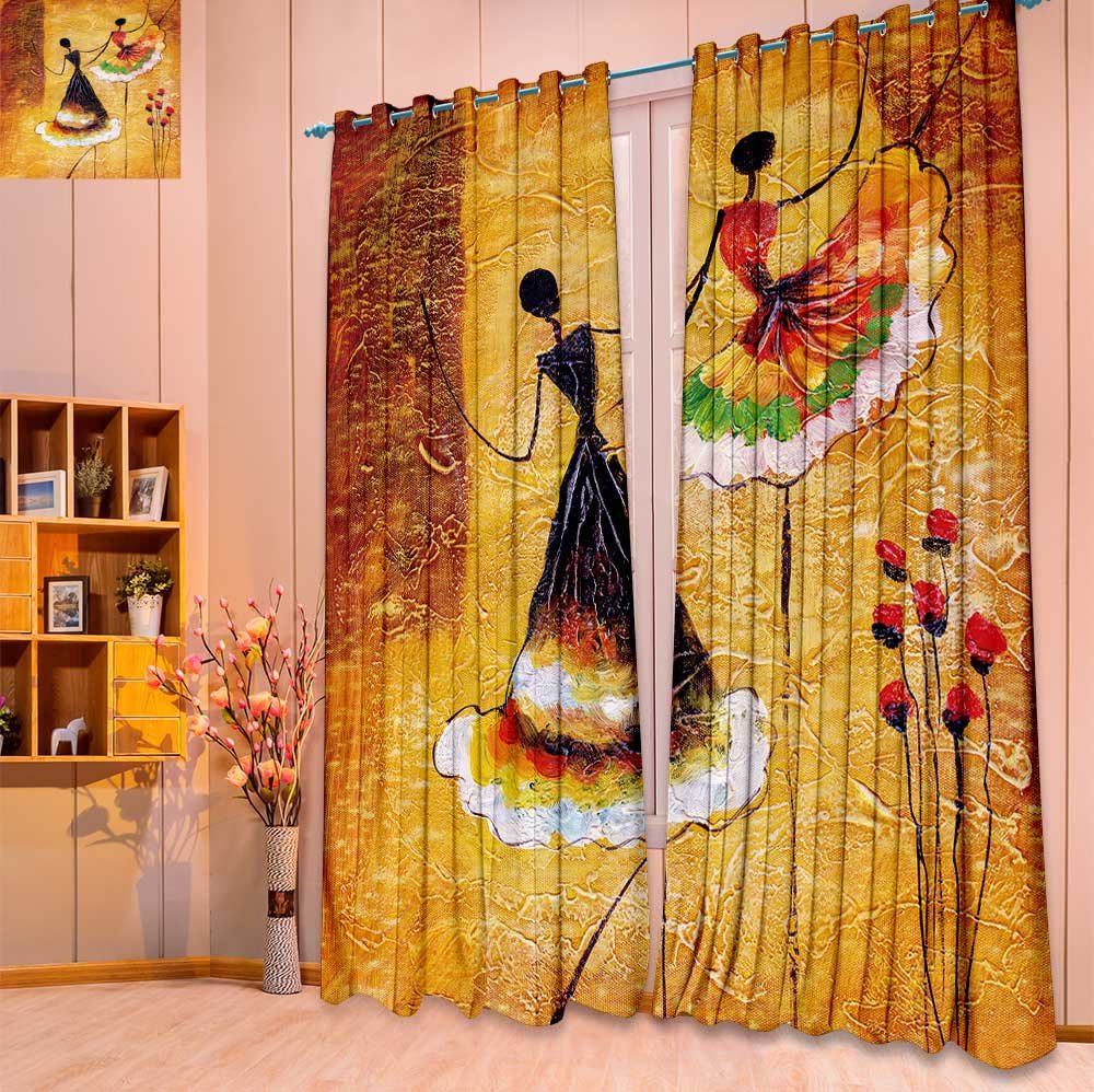SeptSonne Room Darkening Window Curtain Panel Pair oil painting spanish dance for Living Room(W104 x L84 Pair)