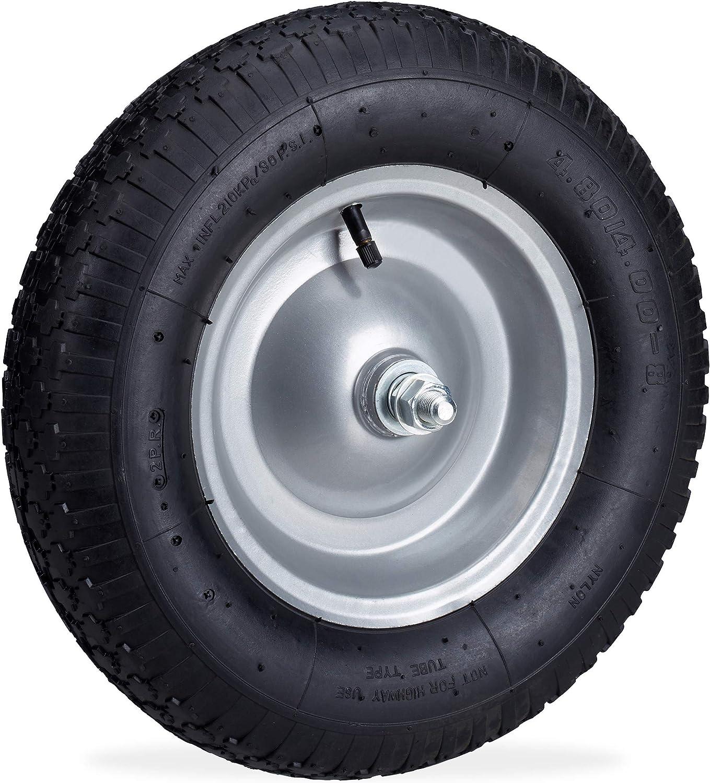 Relaxdays Rueda de Carretilla, Neumático de Recambio con Eje, Llanta de Acero, 120 kg, Negro, 1 Unidad
