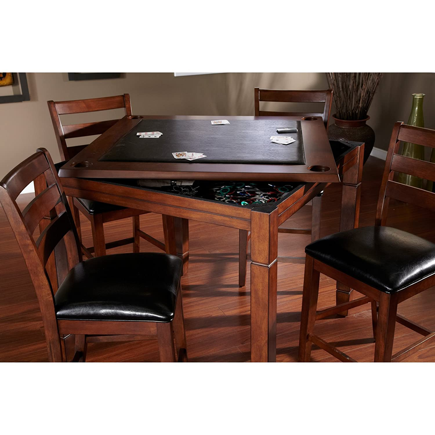 Amazon.com: AHB Rosa 5 Piece Dining/Game Table Set With Flip Top   Mocha:  Kitchen U0026 Dining