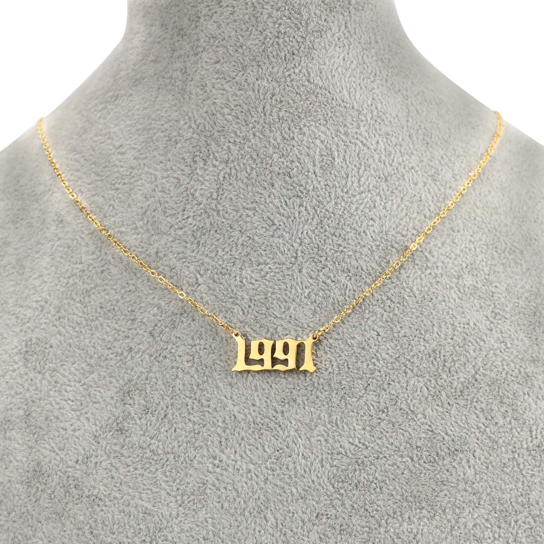 Ann/ée de naissance personnalis/é en acier inoxydable collier cadeau danniversaire pour les femmes et les filles ancien anglais chiffres arabe collier