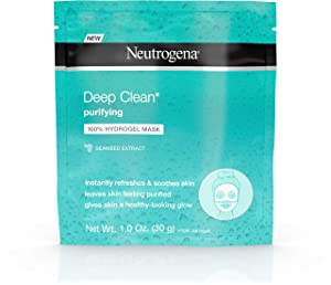Neutrogena Deep Clean Purifying Hydrating 100% Hydrogel Face Mask, Oil-Free with Seaweed Extract 1 oz (Pack of 3)