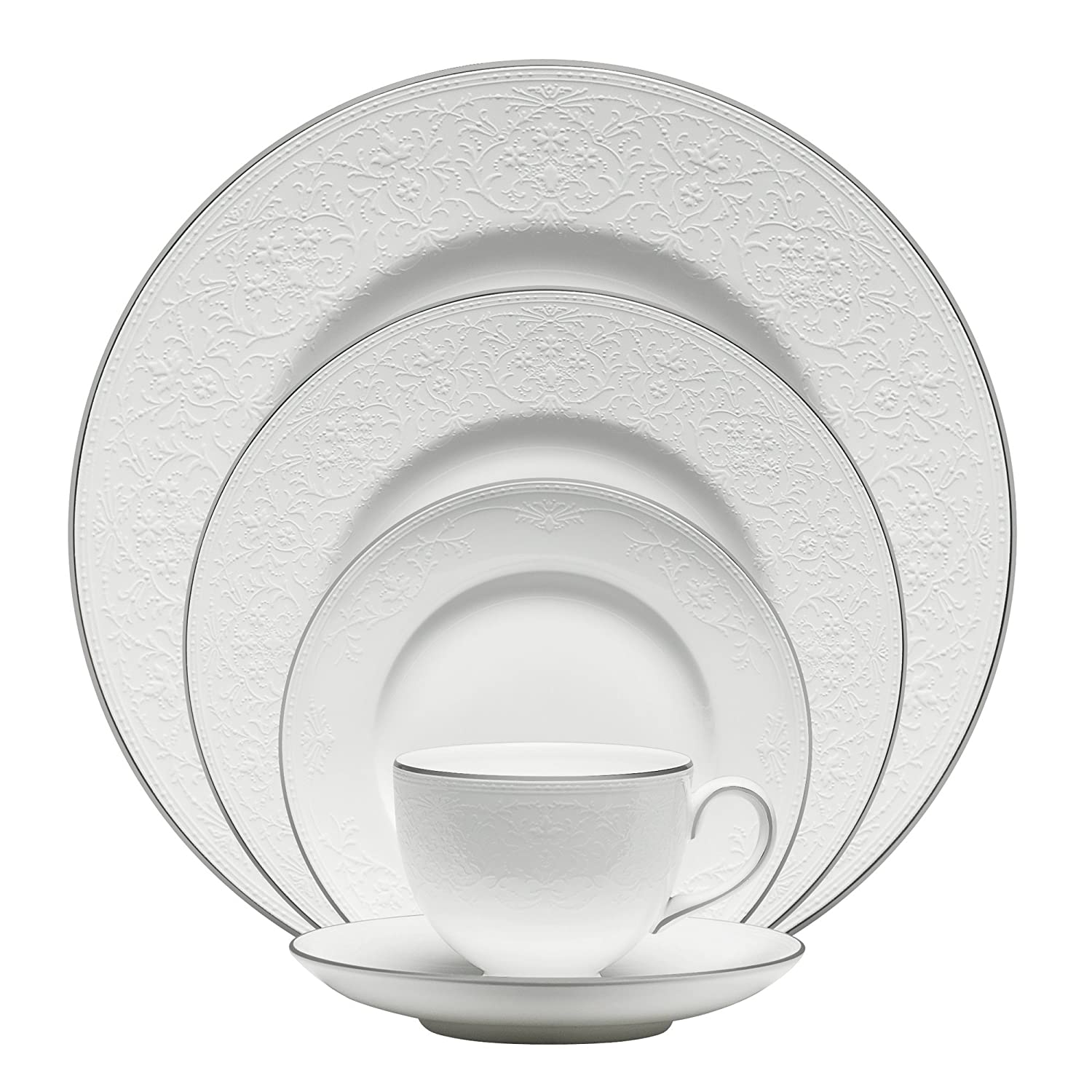 Christmas Tablescape Décor - Wedgwood white English lace with platinum rim 5-pc place setting