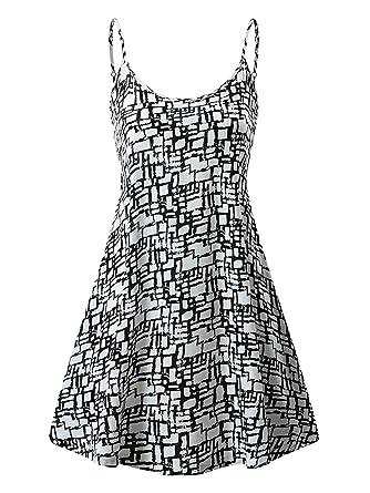 1d58738f56c7 MSBASIC Women s Sleeveless Adjustable Strappy Summer Beach Swing Dress at  Amazon Women s Clothing store