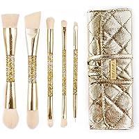 amoore 5 Stück Make Up Buersten Make Up Pinsel Set Pinselsets mit der PU Leder Pinsel Tasche Kosmetik