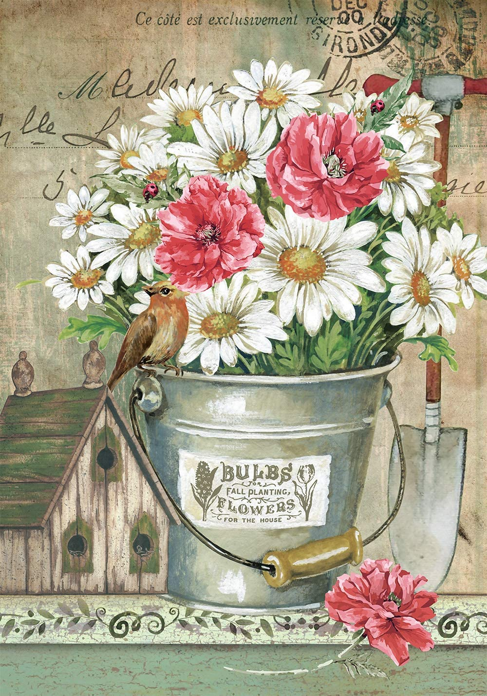 Texupday Daisies Floral Flowers in Bucket Decoration Spring Birdhouse Farmhouse Garden Flag Outdoor Yard Flag 12