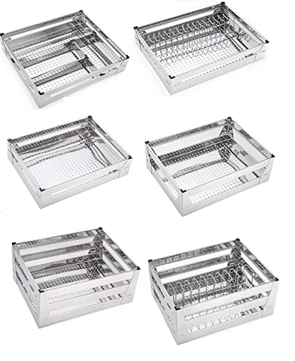 Buy Winstar High Grade Stainless Steel Kitchen Baskets With Perforated Sheet Set Of 6 Premier Series Kitchen Organizer Modular Kitchen Cabinet 17 Inches Online At Low Prices In India Amazon In