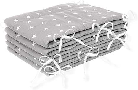 Cot Bumpers All Round Padded Crib Bumper Set for Ttoddlers Baby Breathable 180 x 30 cm Gray with Stars Cotton 420 cm, Grey with White Stars