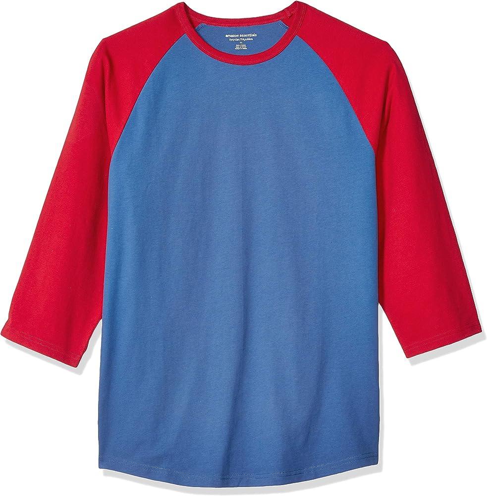 Amazon Essentials - Camiseta de béisbol de manga 3/4 para hombre, Azul/Rojo, US S (EU S): Amazon.es: Ropa y accesorios