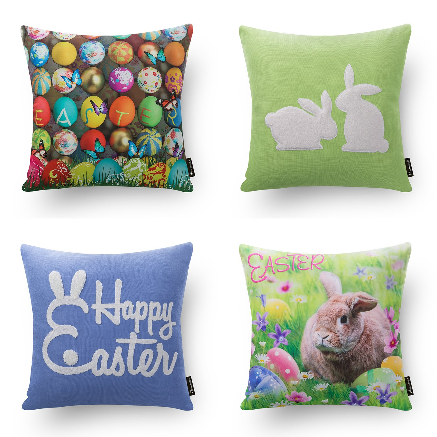 Phantoscope Easter Rabbit Throw Pillow Case Cushion Cover Home Decoration Cotton Blend