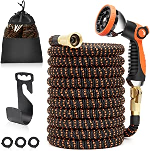 U ULTTY 50ft Expandable Garden Hose, Lightweight Leakproof Water Hose With 10 Function Nozzle, No-Kink with 3/4 inch Brass Fittings 3750D Durable Outdoor Yard Hose for Garden,Car Wash,Pet Bathing