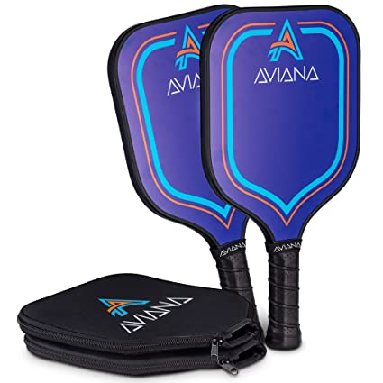 Pickleball Paddle Set of 2 with Case Covers | Super Lightweight Durable Graphite Face Cushion Grip Carbon Fiber Paddles - By Pro Aviana