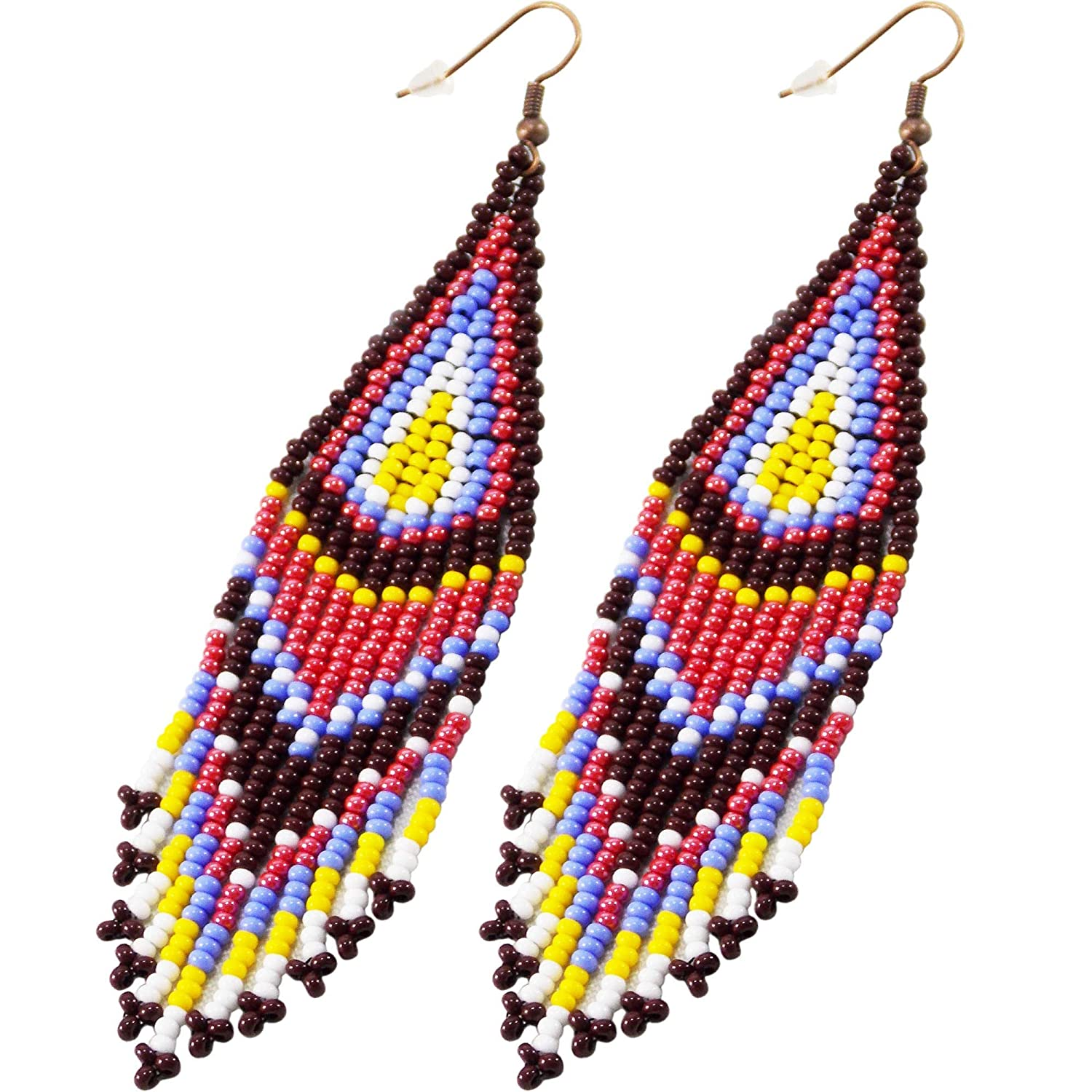 Vintage White Red and Blue Beaded Earrings For Her Seed Bead Earrings Vintage Seed Bead Earrings Yellow White ?Bloue Earrings Red