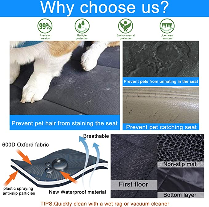 600D Oxford Fabric Car Hammock for Cat Waterproof Pet Car Seat Carrier Back Protector Rear Car Bench Scratch Proof Heavy Duty Dogs Travel Accessories Fityou Dog Car Seat Covers
