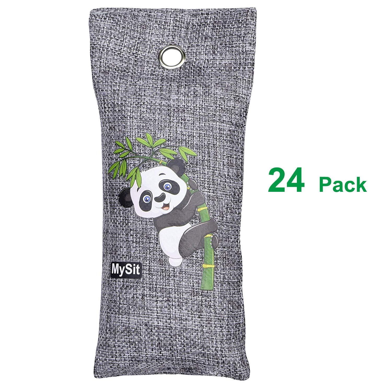 MySit Shoe Odor Eliminator Remover Air Purifying Bags,Portable Foot Deodorizer Bamboo Charcoal Bag Absorber, Locker Air Freshener Absorb Moisture Odors in Gym Bags Backpacks (100 Gram, 24 Pack)
