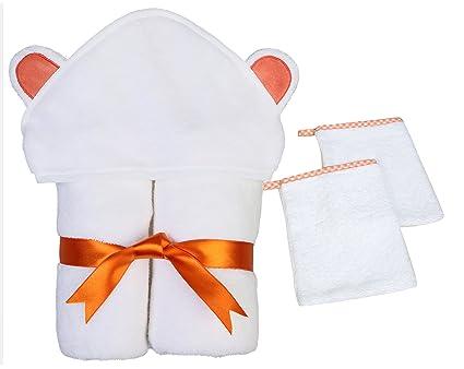 100% – juego de algodón toalla de bebé con capucha y 2 toallitas, Ultra