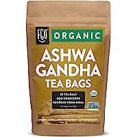 Organic Ashwagandha Tea Bags | 20 Tea Bags | Eco-Conscious Tea Bags in Kraft Bag | by FGO