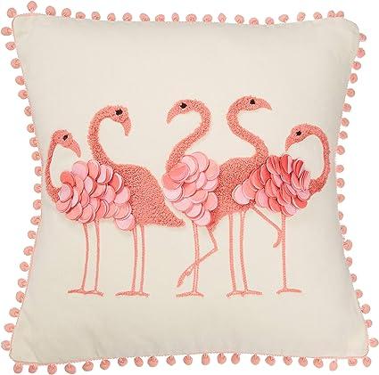 Amazon Com Dei Square Flamingo Pillow 16 X16 Multicolored Home Kitchen