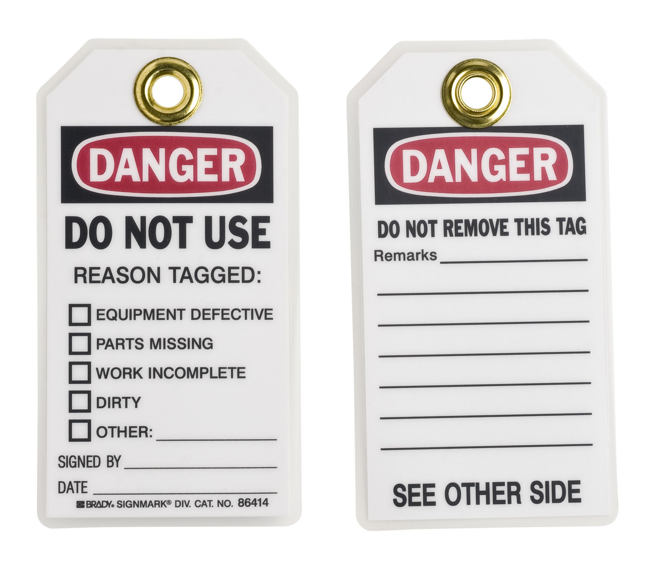 Brady  86414 5 3/4'' Height x 3'' Width, Heavy Duty Polyester (B-837), Black/Red on White Accident Prevention Tags (10 Tags) by Brady