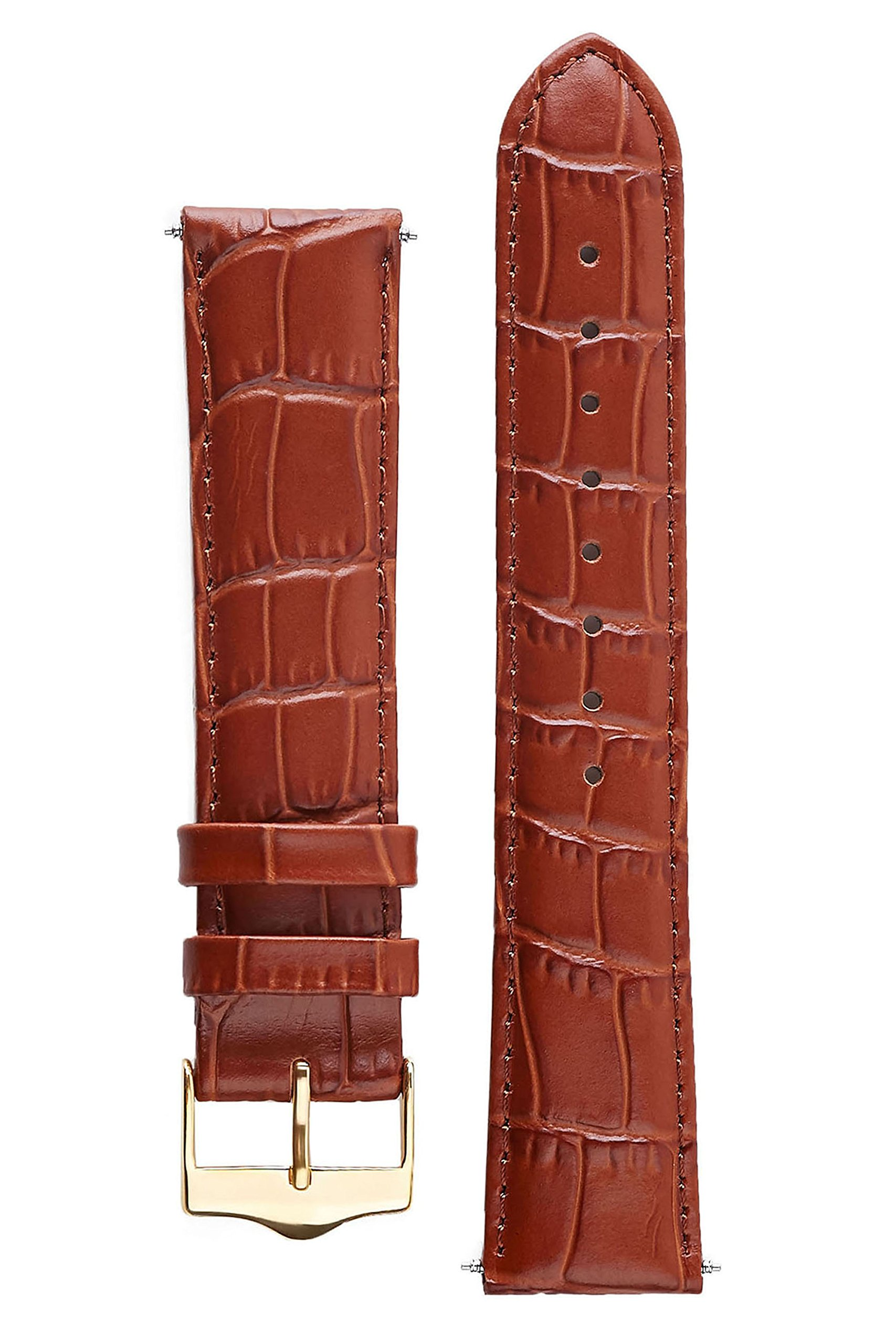 Signature Tropico in brown 18 mm extra long watch band. Replacement watch strap. Genuine leather. Gold Buckle