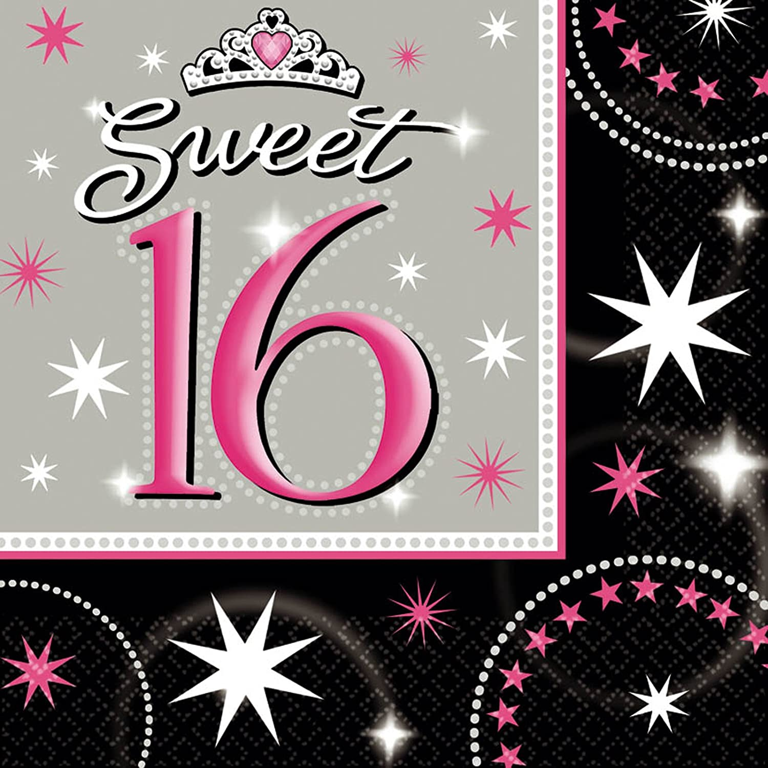 Amscan International Sweet 16 Party Napkins, Pack of 16 519874