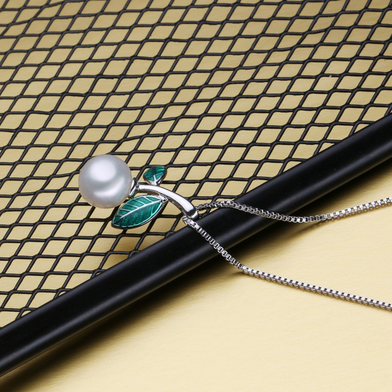 MMC Fashion Green Cloisonne Pearl Gift Silver Pendants Necklaces
