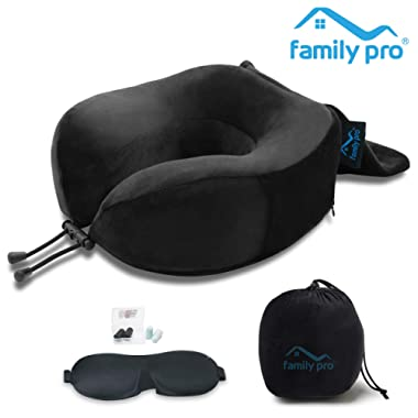 Family Pro Memory Foam Travel Pillow for Airplanes - Neck Pillow with Eye Mask and Earplugs – Removable & Washable Plush Velour Cover - Black