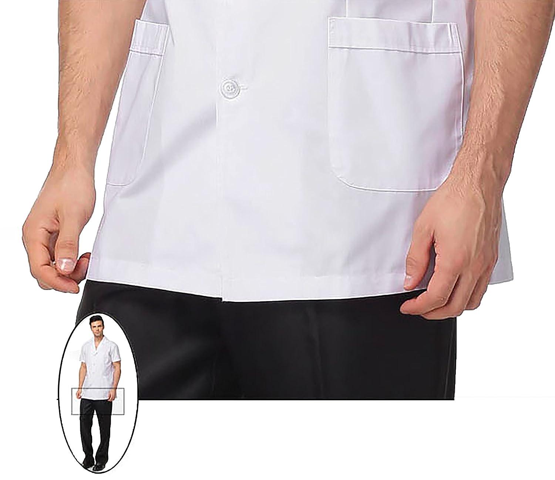 WDF Bata de Laboratorio médicos Bata Uniforme de Trabajo Enfermera Blanco Hombres Manga Corta Corto párrafo: Amazon.es: Ropa y accesorios