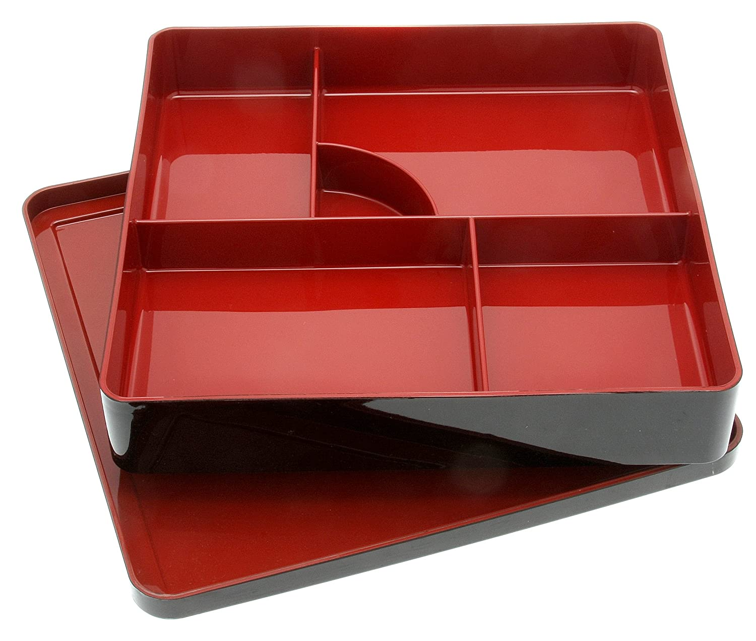 Kotobuki 280-828 Lacquer Japanese Bento Box with 5-Divided Compartments, Lid Included