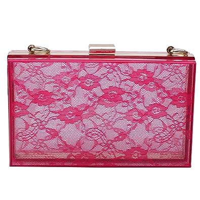 165be850f257e Mogor Women s Lace Acrylic Evening Handbag Party Clutch Crossbody Shoulder  Purse ...