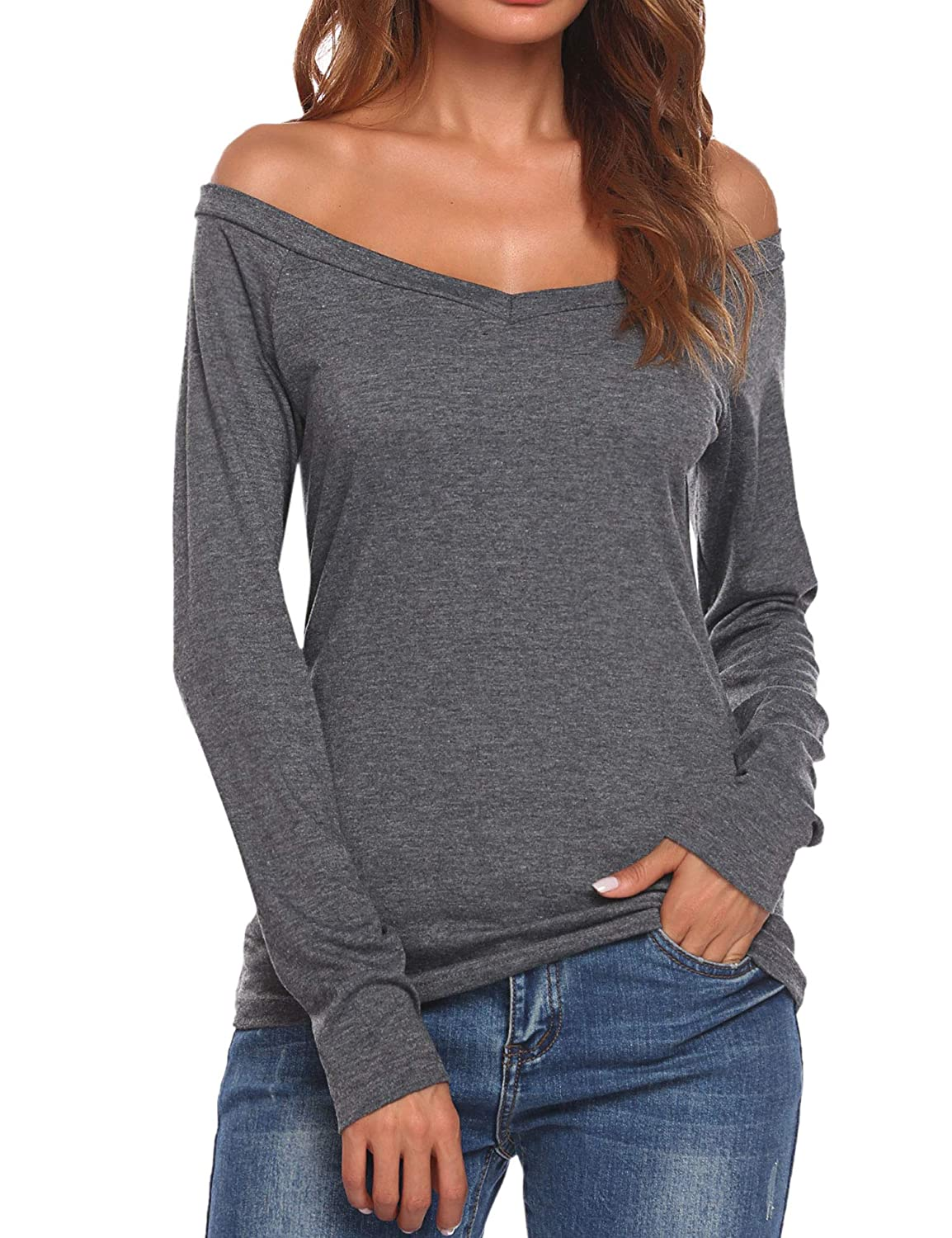 64f54bcf4c7 SoTeer Women Off-Shoulder Shirt V Neck Sexy Blouse Slim Fit Long Sleeve  Side Slit High Low Casual Tops at Amazon Women s Clothing store