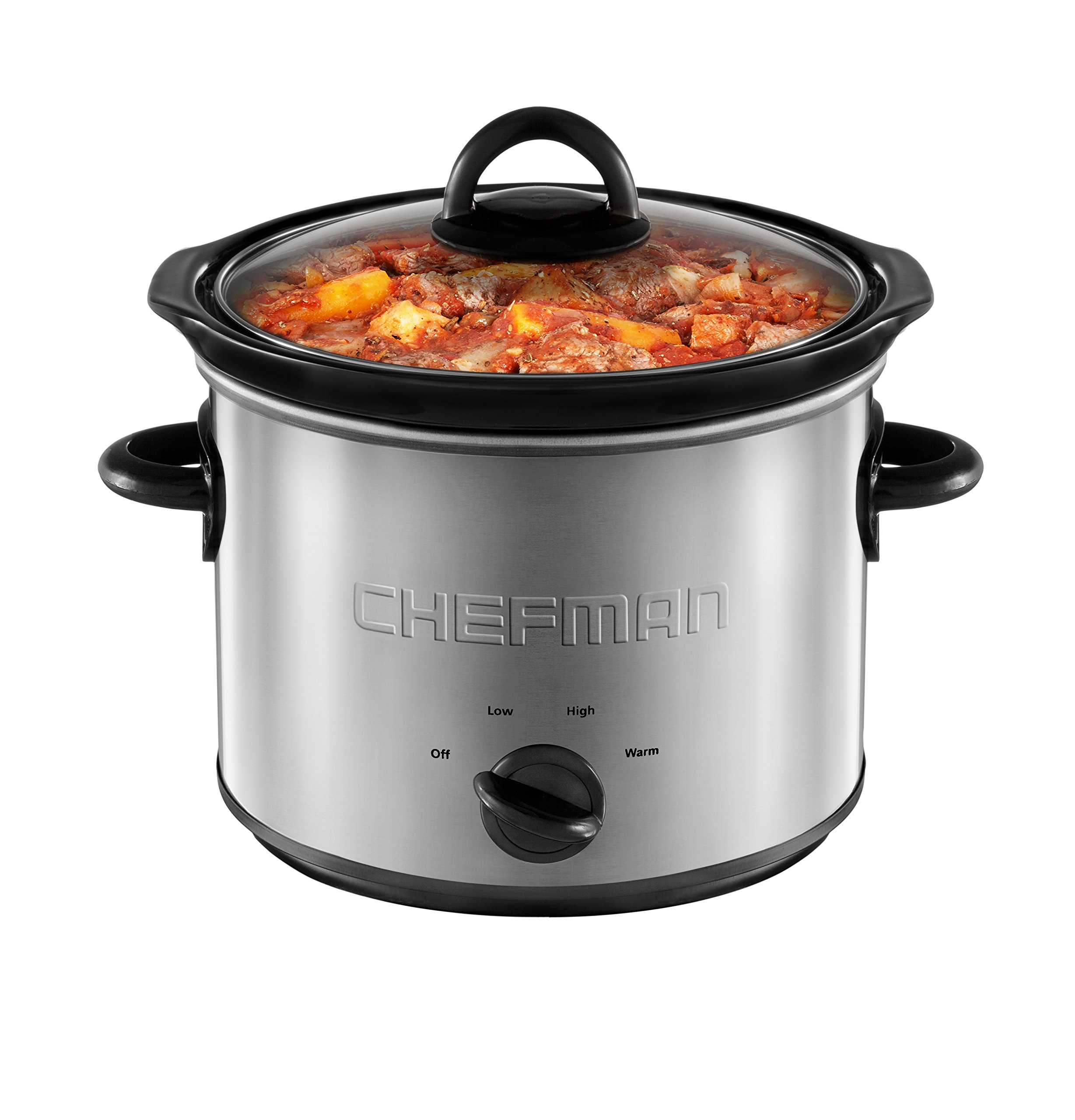 Chefman 3 Quart Slow Cooker with 3 Manual Heat Settings, Removable Crock Insert, Dishwasher Safe Stoneware & Lid, Ideal for 3+ People Fits 3 lb Roast, Stainless Steel