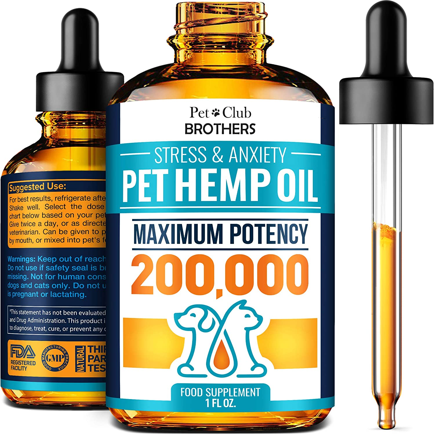 Hemp Oil for Dogs and Cats - Premium Hemp Oil Drops 200,000 Made in USA - Calming Aid for Stress & Anxiety Relief - Pet Relief Rich in Omega 3-6-9 - Hip & Joint Health & Inflammation Relief