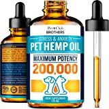 Hemp Oil for Dogs and Cats - Premium Hemp Oil Drops 200,000 Made in USA - Calming Aid for Stress & Anxiety Relief - Pet…