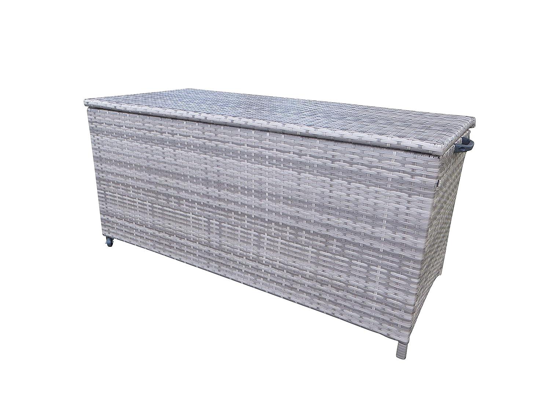 Polyrattan Kissenbox Store Grey mit zwei leicht laufenden Rollen in grau - taupe von Pure Home & Garden, 126 x 60 x 56 cm