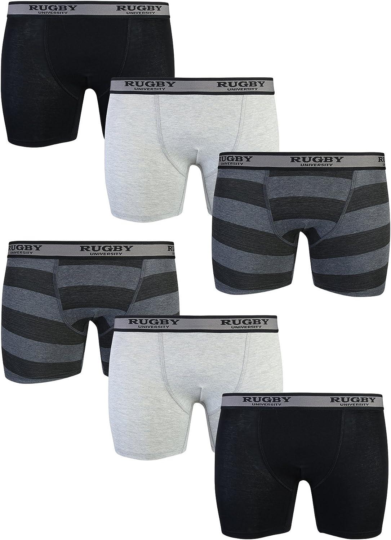 6-Pack Rugby University Mens Stretch Boxer Briefs Underwear