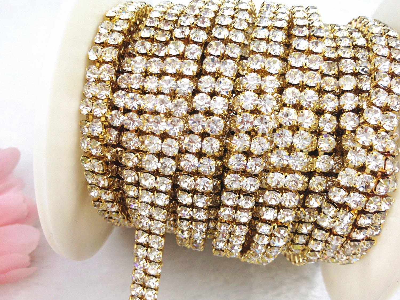 AEAOA 3 Feet 1 Yard 2 Rows Ss16 4mm Close Rhinestone Chain Trims Cup Chain Wedding Cake Silver+Clear Crystal