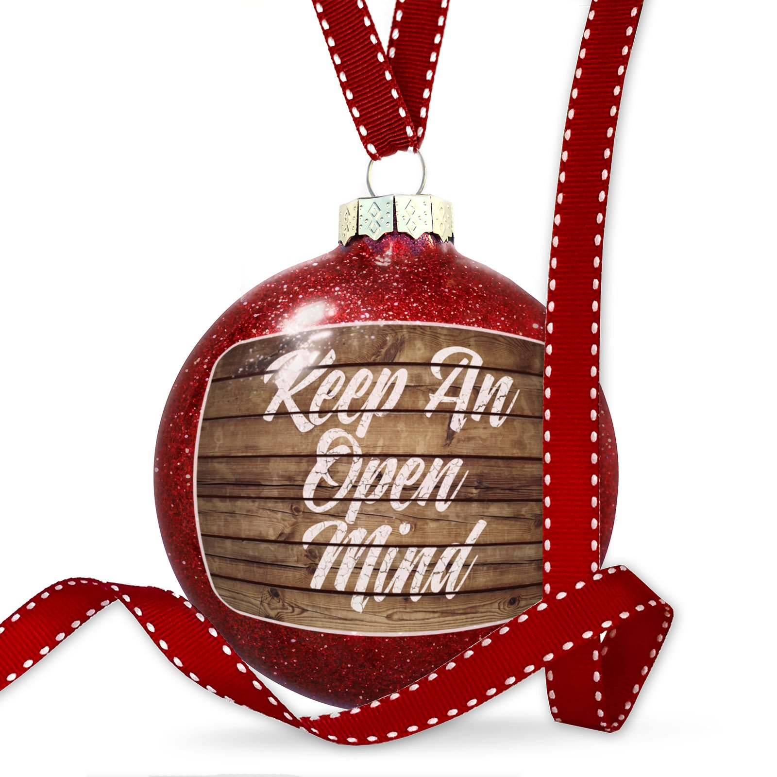 Christmas Decoration Painted Wood Keep An Open Mind Ornament