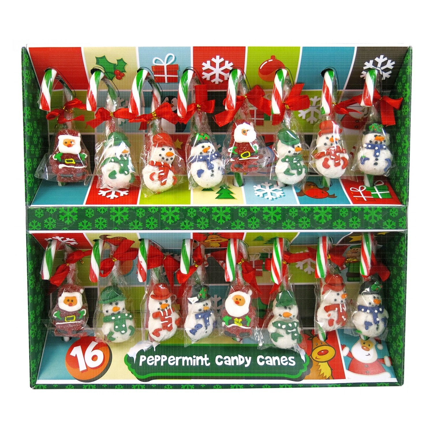 Candy Christmas Tree Decorations.16 Peppermint Candy Canes With Jelly Figures Christmas Tree Decorations 352g