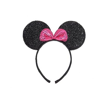 * * NUEVO * * Con purpurina orejas de Minnie Mouse brillantes con lazo rosa caliente - negro - Fancy Dress para despedida - de diadema - para niños adultos: Belleza