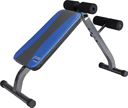 dd6b405cf3c02 Pure Fitness Weight Training/Workout: Adjustable Ab Crunch/Sit-Up Bench,  Blue/Black