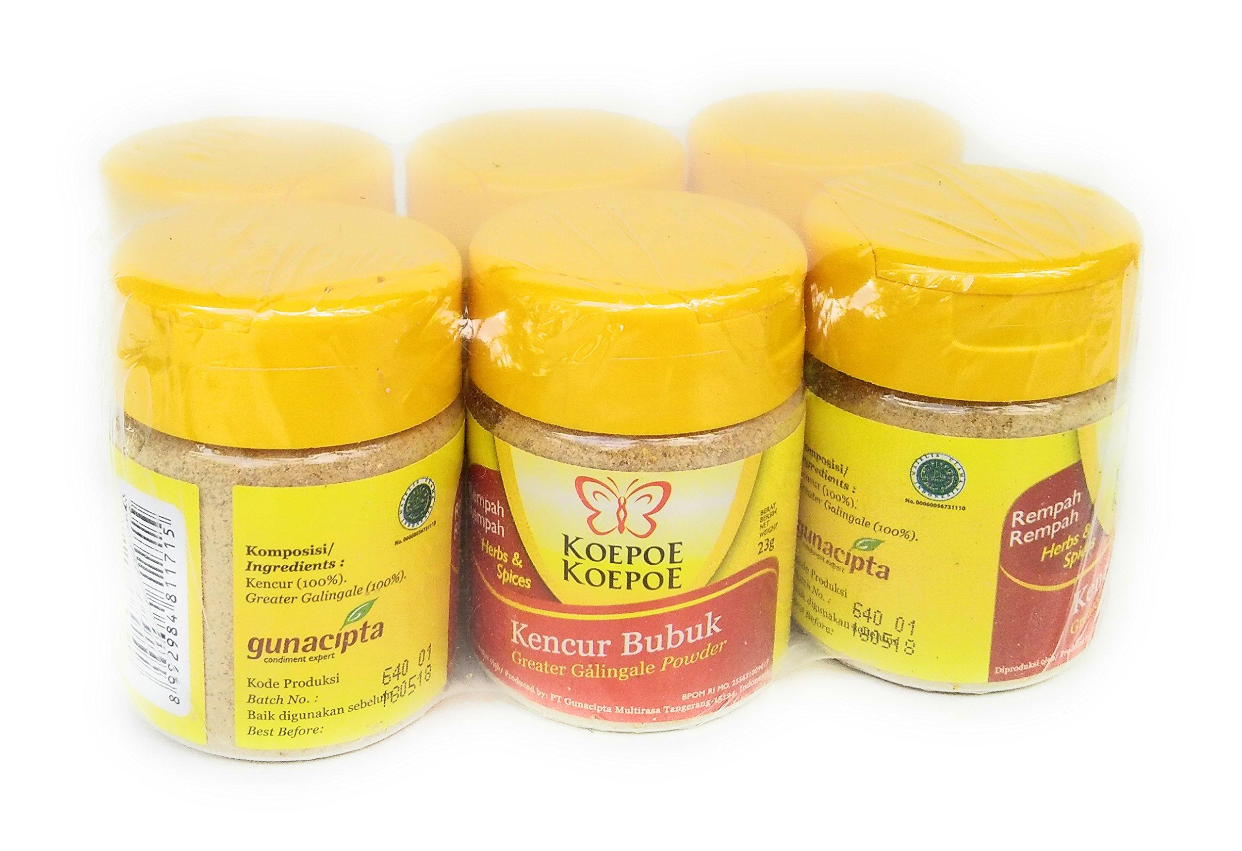 Koepoe-koepoe Kencur Bubuk - Greater Galingale Powder, 23 Gram (Pack of 6)