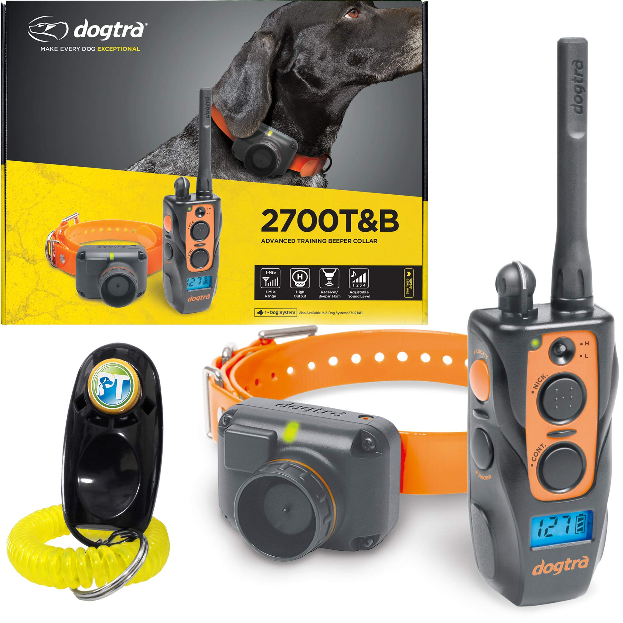 Dogtra 2700T&B Remote Training and Beeper Collar - 1 Mile Range, Fully Waterproof, Rechargeable, Shock, Vibration - Includes PetsTEK Dog Training Clicker