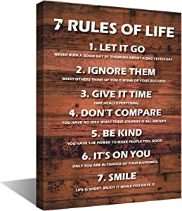 Sinsoledad Inspirational Wall Art,7 Rules of Life Office Motivational Wall Decor, Positive Quote Saying for Living Room Bedroom , Criterion Wall Hanging Framed Ready to Hang,12x16 Inches